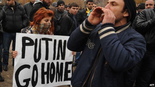 Ереванская демонстрация против визита Путина. Вреж Затикян